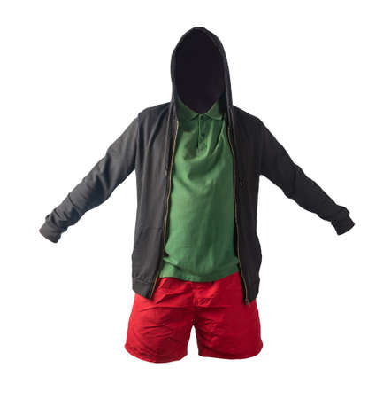black sweatshirt with iron zipper hoodie, dark green t-shirt and red sports shorts isolated on white background. casual sportswear Banco de Imagens