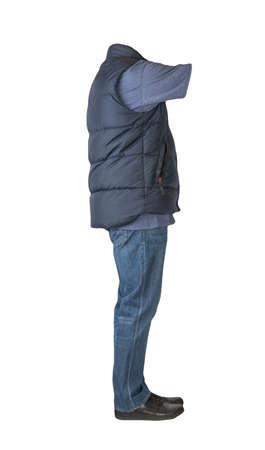 dark blue sleeveless jacket, dark blue jeans, blue t-shirt and black leather shoes isolated on white background Banco de Imagens