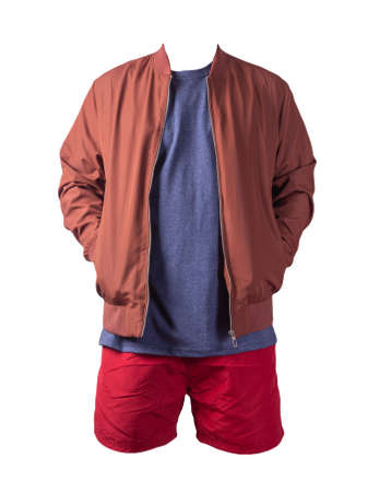 mens red bomber jacket, vintage heather navy t-shirt and red sports shorts isolated on white background. fashionable casual wear Banco de Imagens
