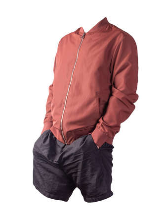 mens red bomber jacket and black sports shorts isolated on white background. fashionable casual wear