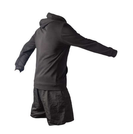 black sweatshirt with an iron zipper with a hood and black sports shorts isolated on a white background. casual sportswear