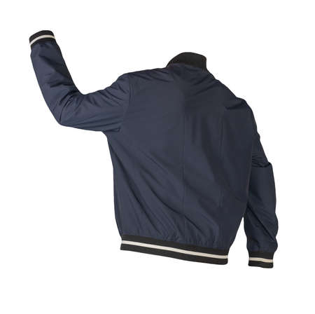 mens dark blue bomber jacket isolated on white background. fashionable clothes for every day