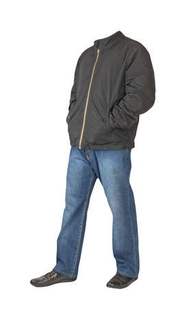 dark blue jeans, black leather shoes, black jacket isolated on white background. Casual style