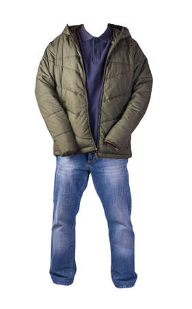 dark green jacket with zipper, dark blue shirt and blue jeans isolated on white background. casual fashion clothes