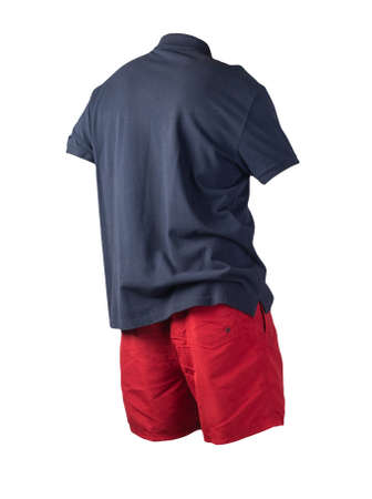 men's sports red shorts and dark blue shirt with a button-down collar isolated on a white background.comfortable clothing for sports