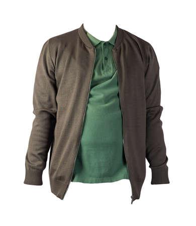 dark green men's knitten bomber jacket and dark green shirt isolated on white background. fashionable casual wear Banco de Imagens