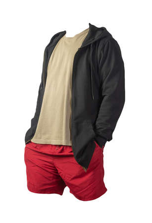 black sweatshirt with iron zipper hoodie, biige t-shirt and red sports shorts isolated on white background. casual sportswear Banco de Imagens