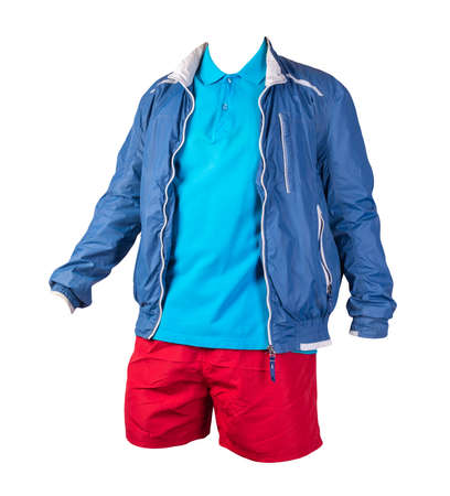 men's blue white jacket windbreaker, blue shirt and red sports shorts isolated on white background. fashionable casual wear