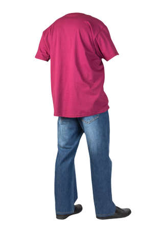 dark blue jeans, black leather shoes, burgundy t-shirt isolated on white background. Casual style
