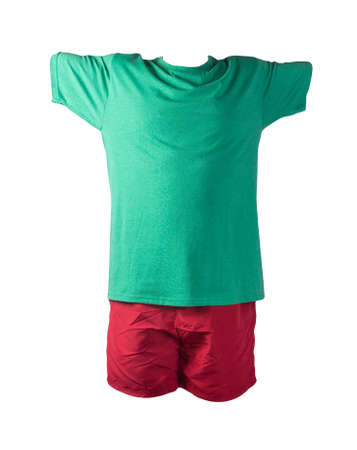 men's red sports shorts and retro heather green t-shirt isolated on white background.comfortable clothing for sports