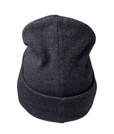 knitted graphite hat isolated on a white background.fashion hat accessory for casual style