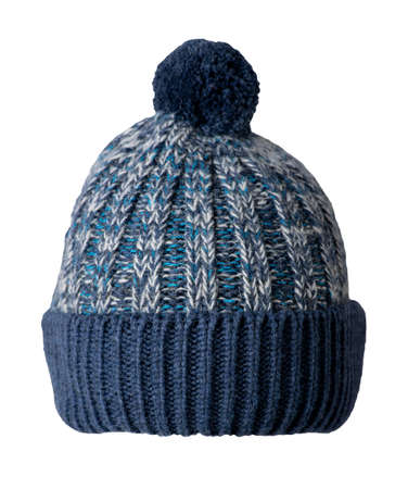 knitted dark blue gray hat isolated on white background.hat with pompon. Banco de Imagens