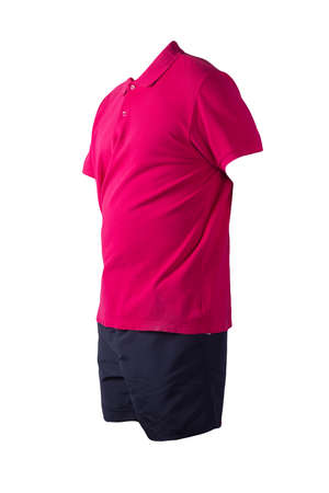 men's sports dark blue shorts and red shirt with a button-down collar isolated on a white background.comfortable clothing for sports Banco de Imagens