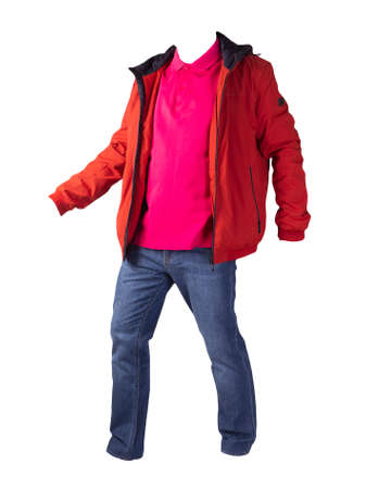 orange jacket, red shirt and blue jeans isolated on white background. casual fashion clothes