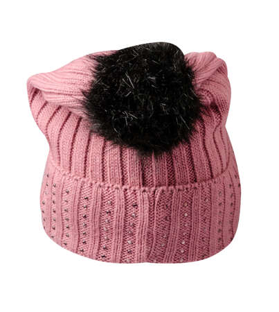 knitted pink hat isolated on white background.hat with pompon.