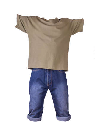 denim dark blue shorts and olive t-shirt isolated on white background. men's jeans orders