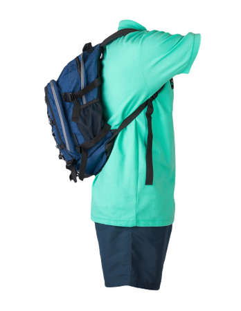 denim blue backpack, dark blue sports shorts, green shirt with a collar with buttons isolated on white foane. clothes for every day