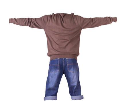 denim dark blue shorts and brown knitted sweater isolated on white background. Men's jeans 免版税图像