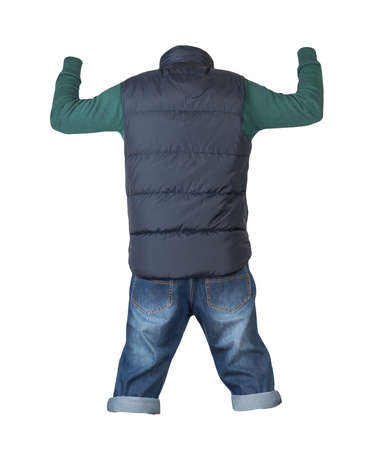 denim dark blue shorts, green knitted sweater and dark blue sleeveless jacket isolated on white background
