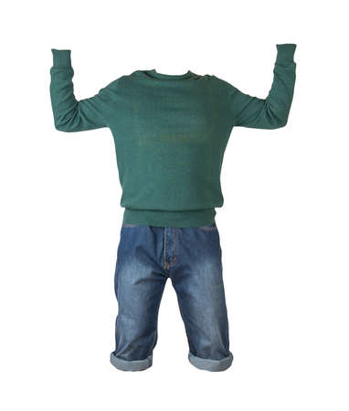 denim dark blue shorts and green knitted sweater isolated on white background. Men's jeans