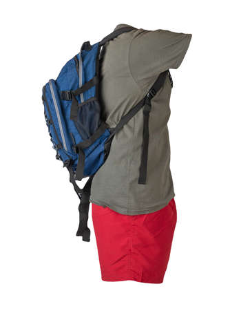 denim blue backpack, red sports shorts, gray t-shirt isolated on white foane. clothes for every day