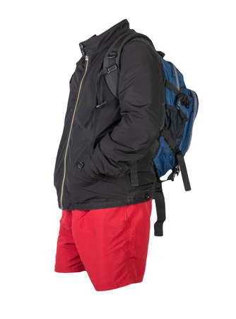 blue backpack, red shorts, black summer jacket isolated on white background. casual wear