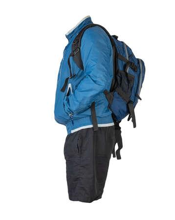 blue backpack, black shorts, blue summer windbreaker jacket isolated on white background. casual wear
