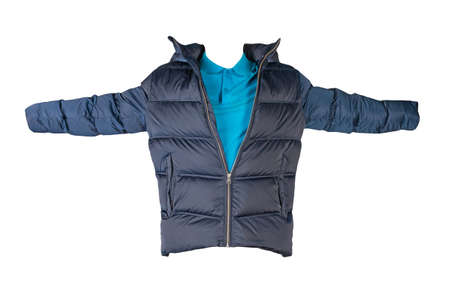 dark blue men's down jacket and blue shirt isolated on white background. fashionable casual wear 免版税图像