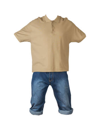 denim dark blue shorts and beige t-shirt with a collar on buttons isolated on white background. men's jeans orders