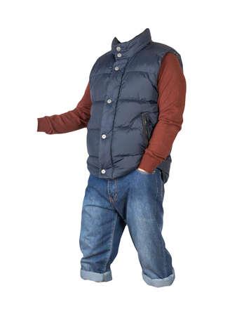 denim dark blue shorts, dark red knitted sweater and dark blue sleeveless jacket isolated on white background
