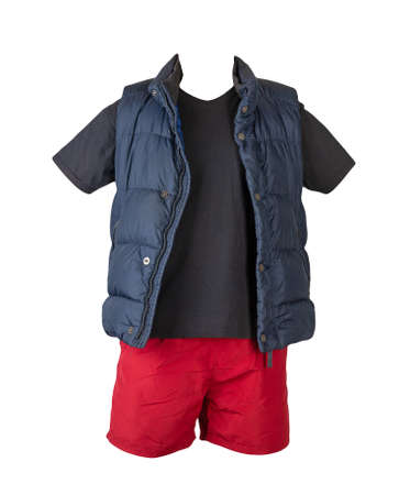 dark blue sleeveless jacket, black t-shirt and sports shorts isolated on white background. Valid clothes for cool weather