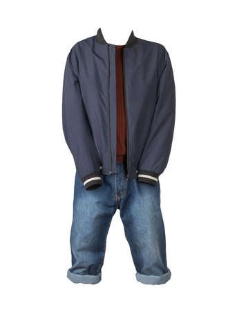 Denim blue shorts, dark red sweater and dark blue jacket on the zipper isolated on white background
