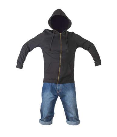 denim dark blue shorts and black hoodie isolated on white background. Men's jeans 免版税图像