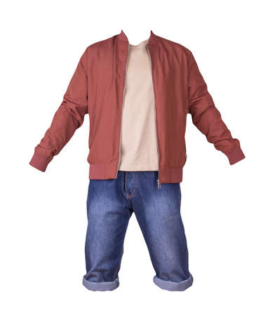 Denim blue shorts, beige t-shirt and red bomber jacket on a zipper isolated on white background
