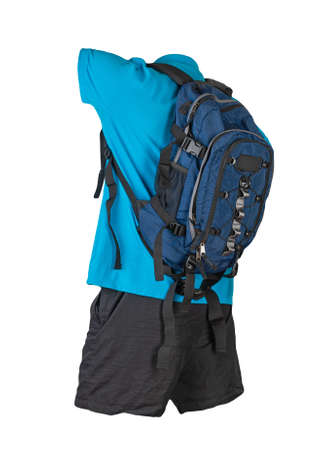 denim blue backpack, black sports shorts, blue shirt with a collar with buttons isolated on white foane. clothes for every day