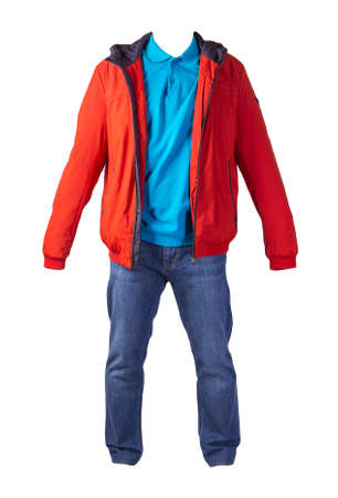 red jacket with zipper, blue shirt and blue jeans isolated on white background. casual fashion clothes