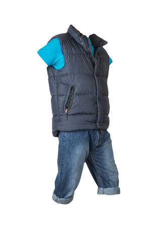 denim dark blue shorts, blue t-shirt with collar on buttons and dark blue sleeveless jacket isolated on white background