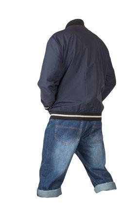 Denim dark blue shorts and dark blue bomber jacket with zipper isolated on white background. Men's jeans