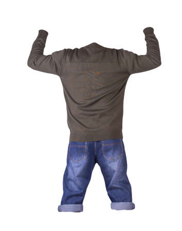 Denim dark blue shorts and dark green knitted bomber jacket with zipper isolated on white background. Men's jeans