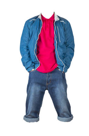 Denim dark blue shorts, red t-shirt with collar on buttons and blue windbreaker jacket on a zipper isolated on white background 免版税图像