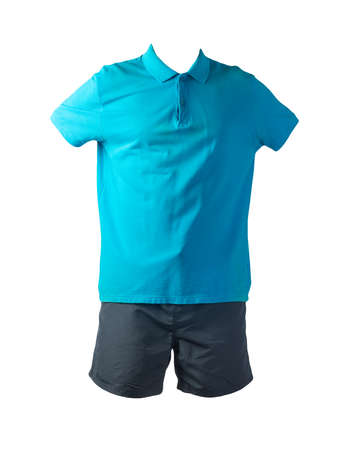 men's sports dark blue shorts and blue shirt with a button-down collar isolated on a white background.comfortable clothing for sports