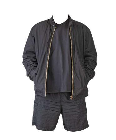 mens black jacket, black t-shirt and sports black shorts isolated on white background. fashionable casual wear