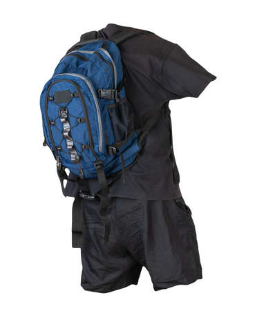 denim blue backpack, black sports shorts, burgundy t-shirt isolated on white foane. clothes for every day