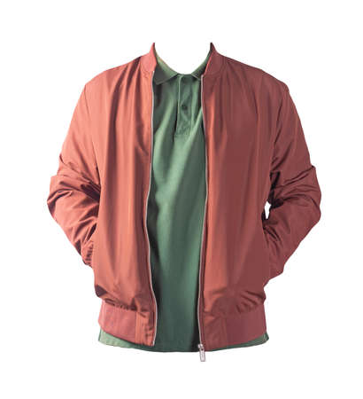 dark red men's bomber jacket and dark green shirt isolated on white background. fashionable casual wear