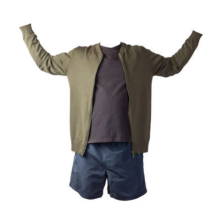 mens dark green knitted bomber jacket, black t-shirt and dark blue sports shorts isolated on white background. fashionable casual wear 免版税图像