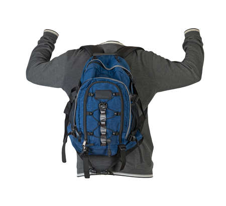 gray sweatshirt and blue backpack insulated on white background 免版税图像