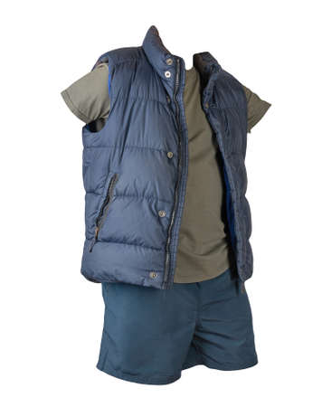 dark blue sleeveless jacket, dark gray t-shirt and dark blue sports shorts isolated on white background. Valid clothes for cool weather