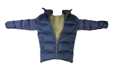 men's dark blue down jacket and olive t-shirt isolated on a white background. fashionable casual wear