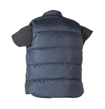 dark blue sleeveless jacket and black t-shirt isolated on white background 免版税图像
