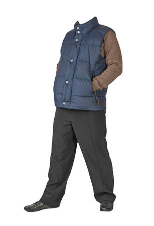 dark blue sleeveless jacket, black pants, brown sweater and black leather shoes on white background